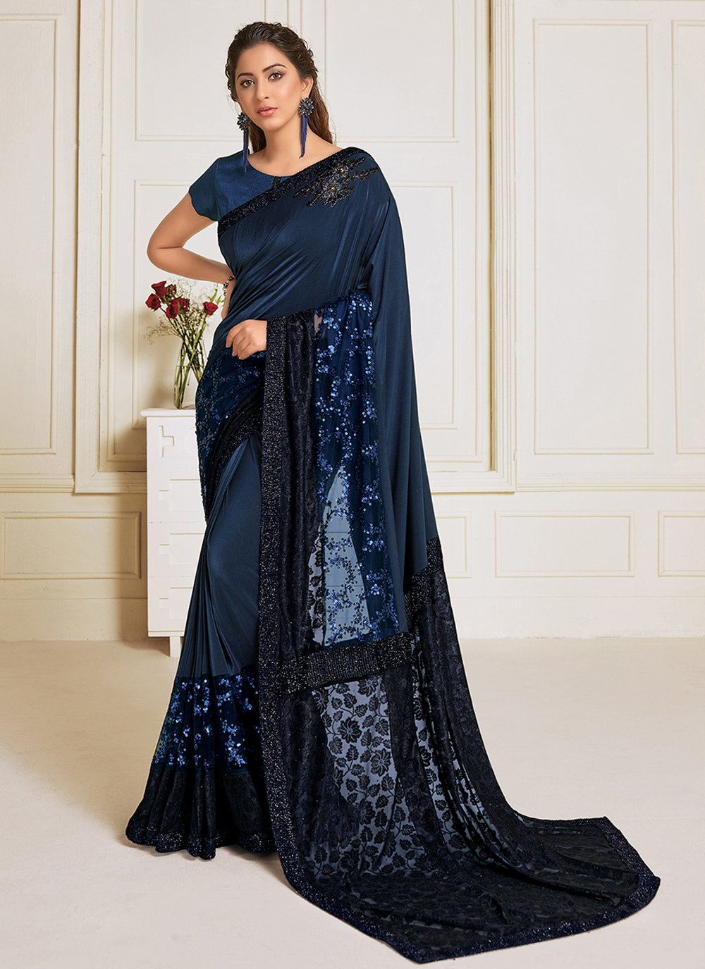 Navy Blue Sangeet Lycra Trendy Saree