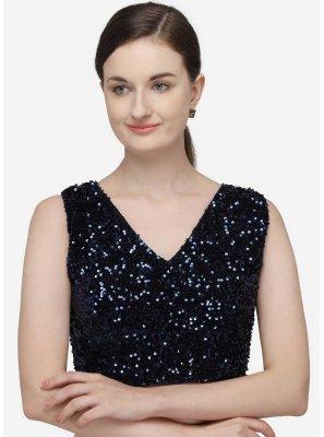 Navy Blue Sequins Velvet Designer Blouse