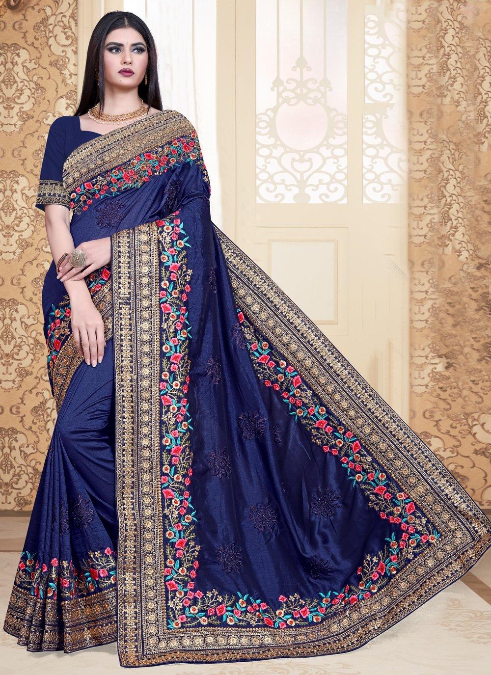 Navy Blue Silk Bollywood Saree