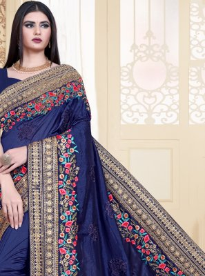 Navy Blue Silk Bollywood Saree