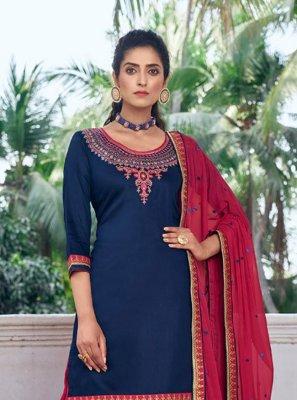 Navy Blue Silk Designer Patiala Suit
