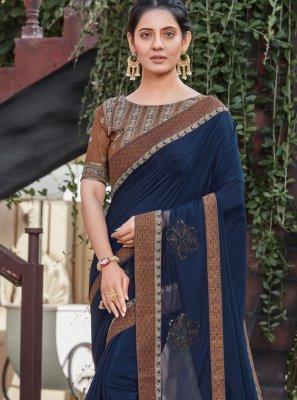 Navy Blue Silk Designer Saree