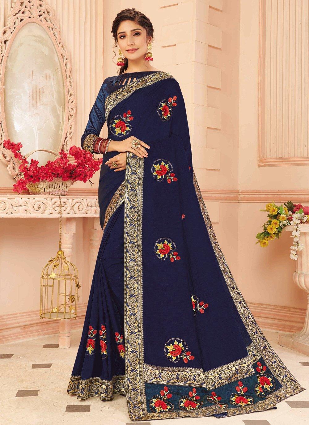 Navy Blue Silk Designer Traditional Saree