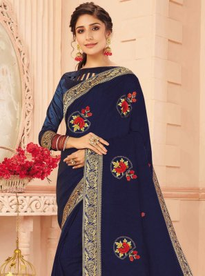 Navy Blue Silk Designer Traditional Saree