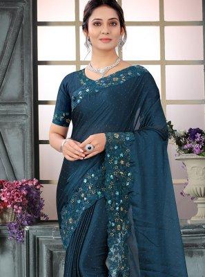 Navy Blue Silk Embroidered Contemporary Saree
