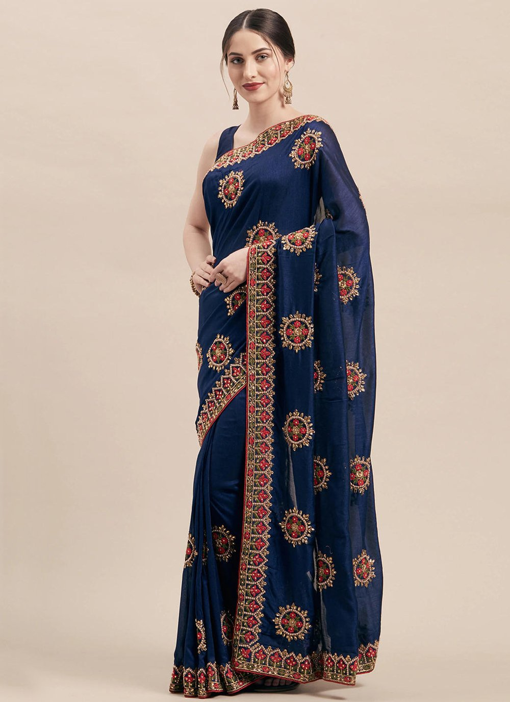Navy Blue Silk Patch Border Designer Traditional Saree