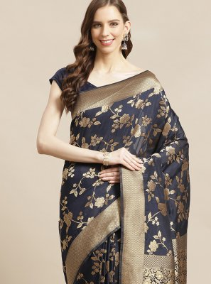 Navy Blue Silk Traditional Saree