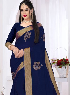 Navy Blue Swarovski Party Contemporary Saree