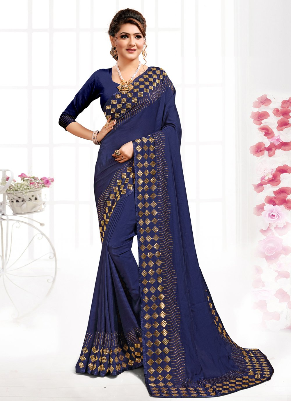 Navy Blue Trendy Saree