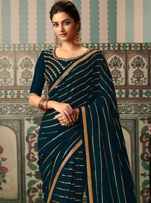 Navy Blue Vichitra Silk Traditional Designer Saree