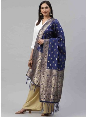 Navy Blue Weaving Art Silk Designer Dupatta