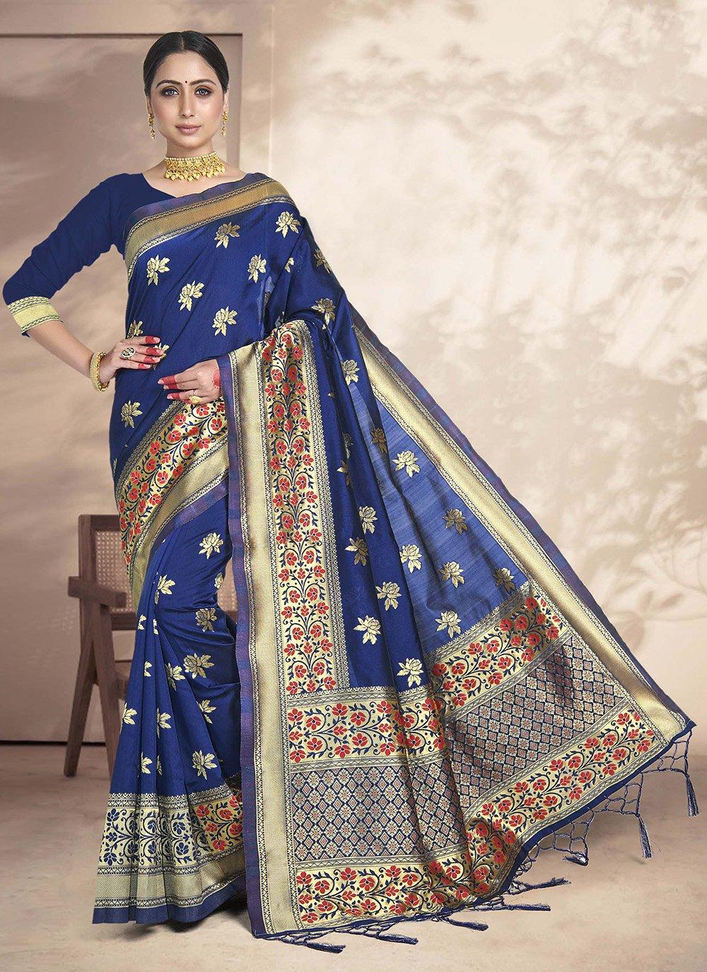 Navy Blue Weaving Art Silk Silk Saree
