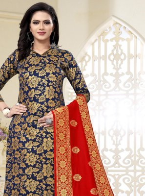 Navy Blue Weaving Banarasi Silk Churidar Designer Suit