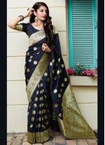 Navy Blue Weaving Banarasi Silk Designer Traditional Saree