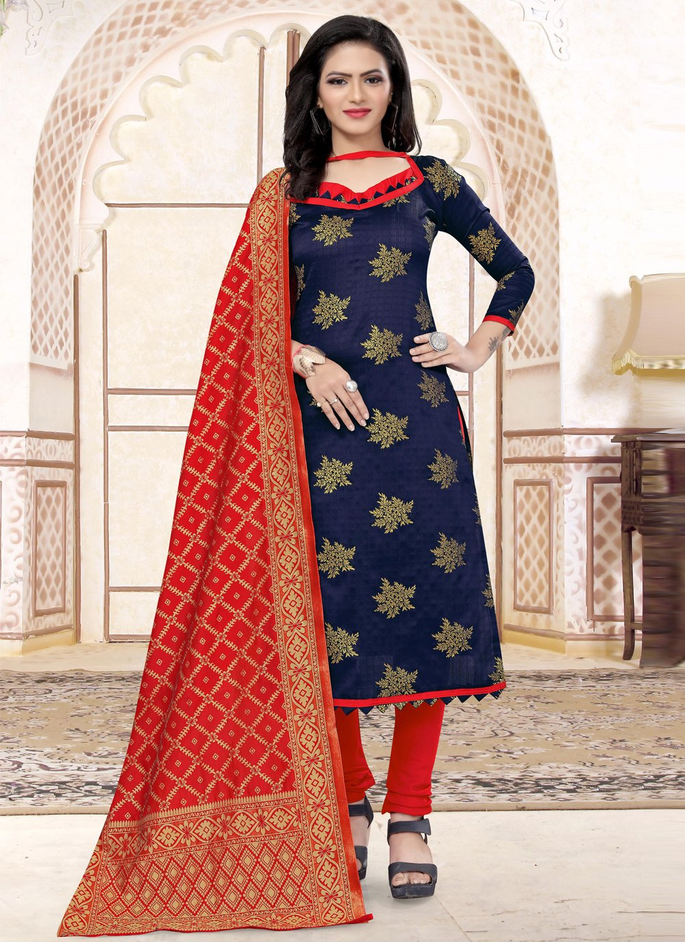 Navy Blue Weaving Churidar Salwar Suit