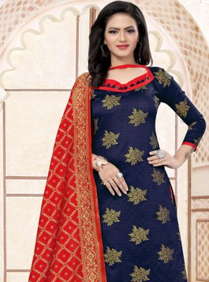 Navy Blue Weaving Churidar Salwar Suit