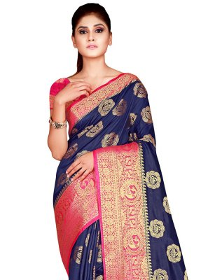 Navy Blue Weaving Designer Traditional Saree