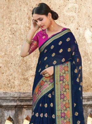 Navy Blue Weaving Traditional Saree