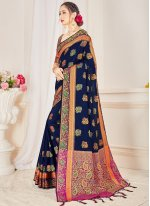 Navy Blue Woven Festival Designer Traditional Saree