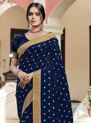Navy Blue Woven Festival Traditional Saree
