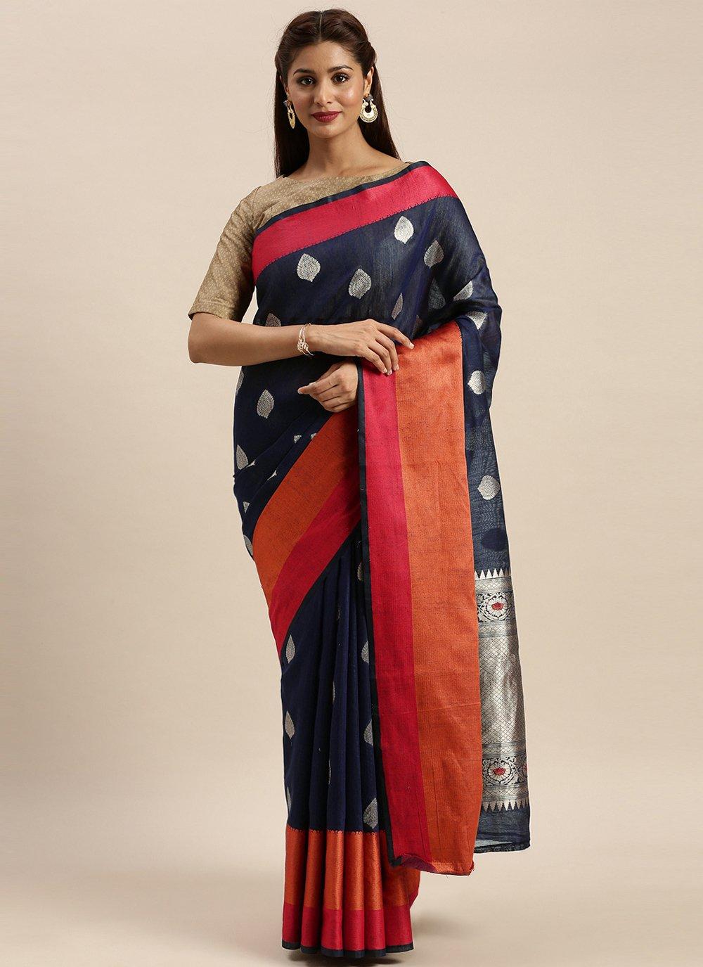 Navy Blue Woven Linen Traditional Designer Saree
