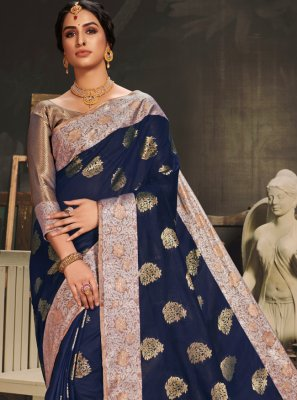 Navy Blue Woven Traditional Designer Saree