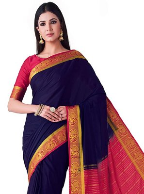 Navy Blue Zari Silk Designer Traditional Saree