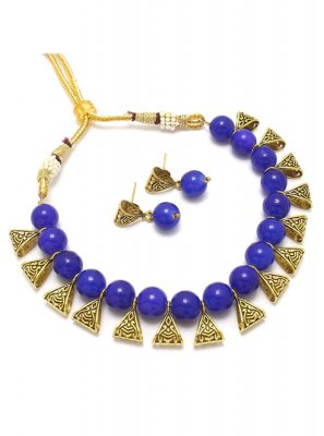 Necklace Set Moti in Blue and Gold