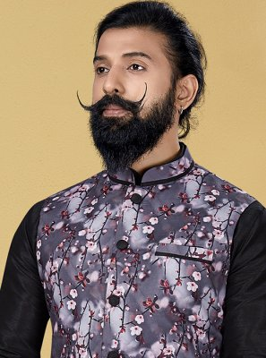 Nehru Jackets Printed Cotton in Grey
