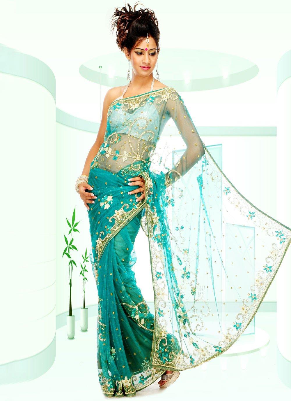 Net Aqua Blue Classic Designer Saree
