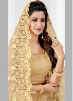Net Beige Resham Classic Designer Saree