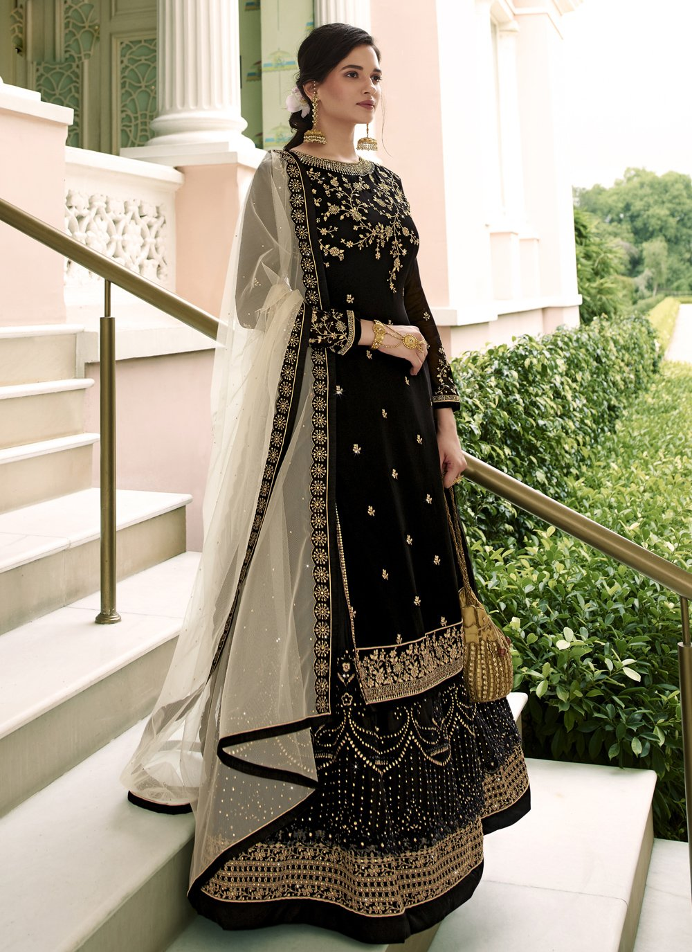 Net Black Designer Long Lehenga Choli