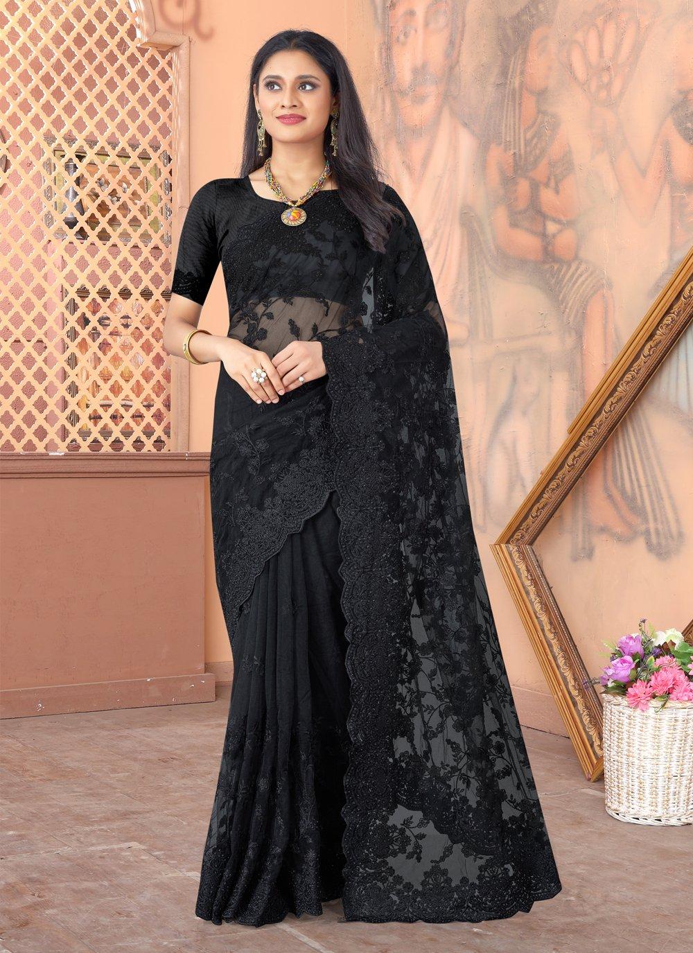 Net Black Designer Saree
