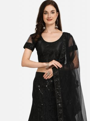 Net Black Embroidered Lehenga Choli