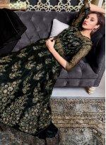 Net Black Embroidered Long Choli Lehenga