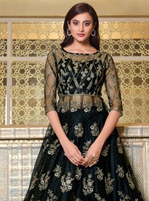 Net Black Embroidered Long Choli Lehenga