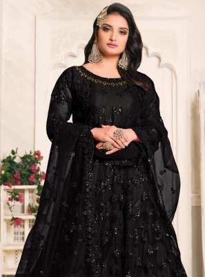 Net Black Floor Length Anarkali Suit
