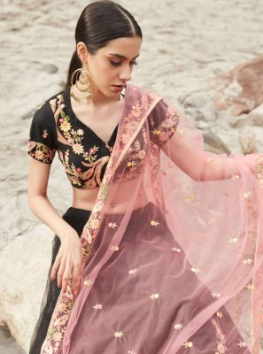 Net Black Thread Work Lehenga Choli