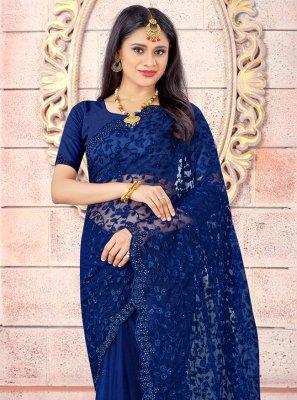 Net Blue Embroidered Designer Saree