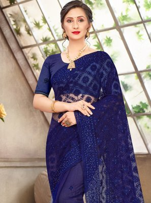 Net Blue Embroidered Traditional Saree