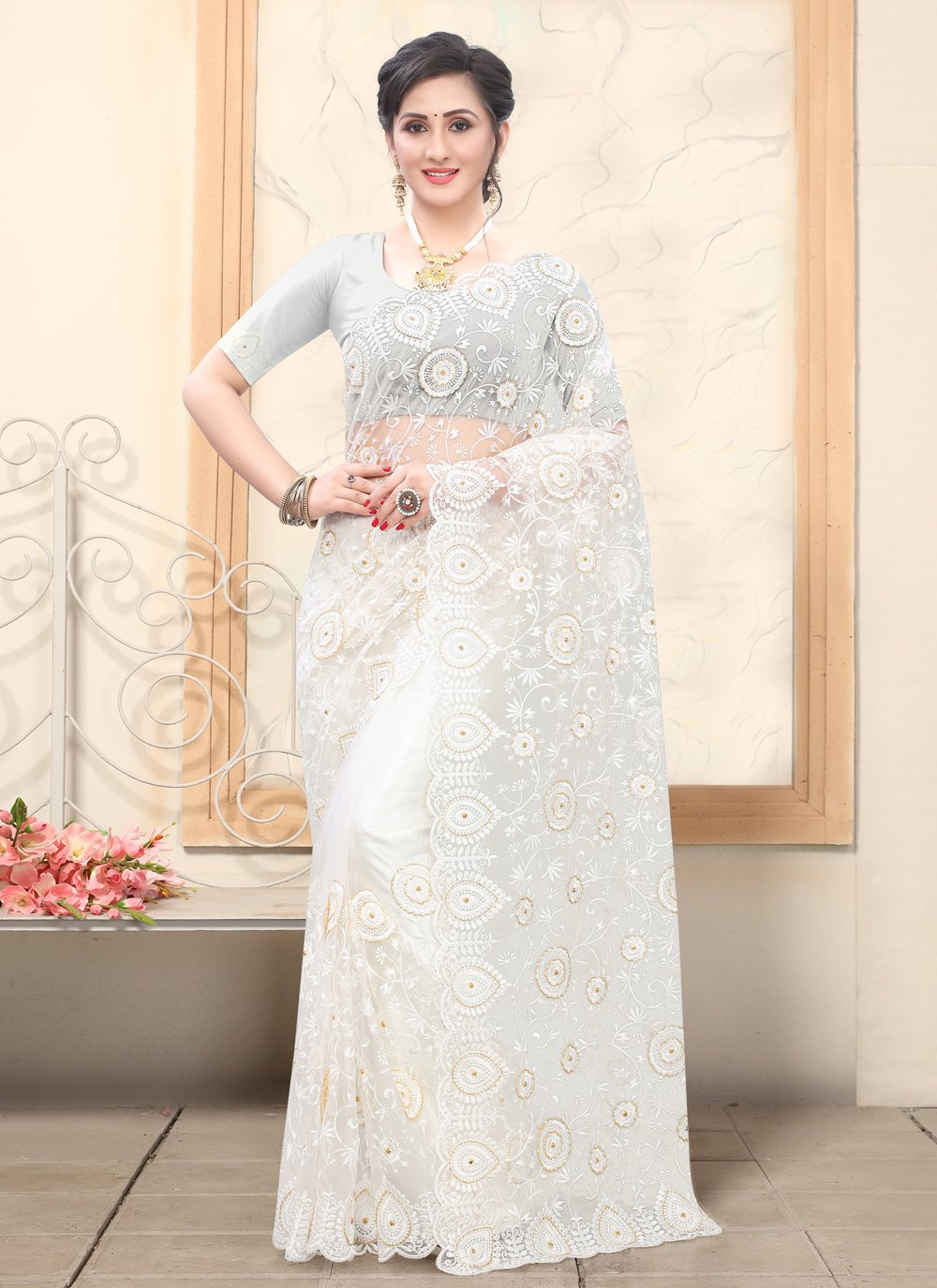 Net Classic Saree in Off White