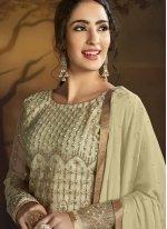 Net Cream Designer Palazzo Salwar Kameez
