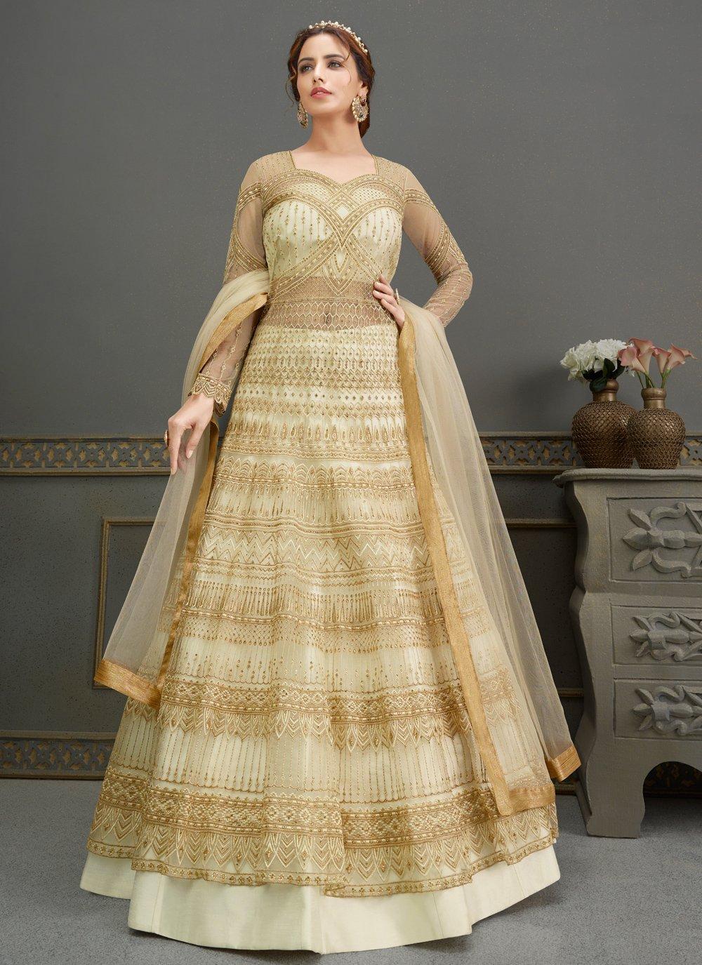 Net Cream Handwork Floor Length Anarkali Suit