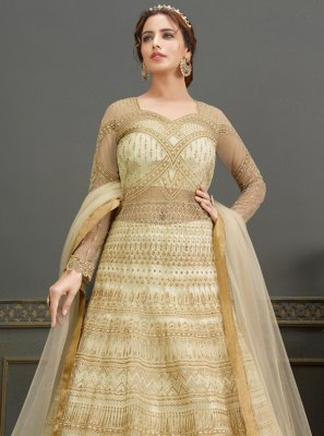 Net Cream Handwork Floor Length Anarkali Suit