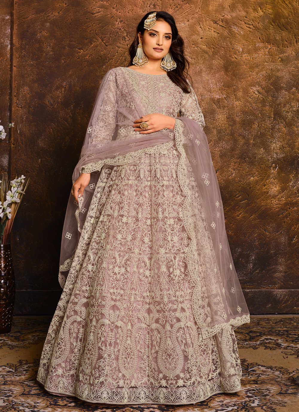 Net Designer Floor Length Salwar Suit in Lavender