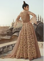 Net Designer Long Lehenga Choli in Beige