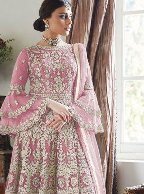 Net Designer Palazzo Suit in Pink