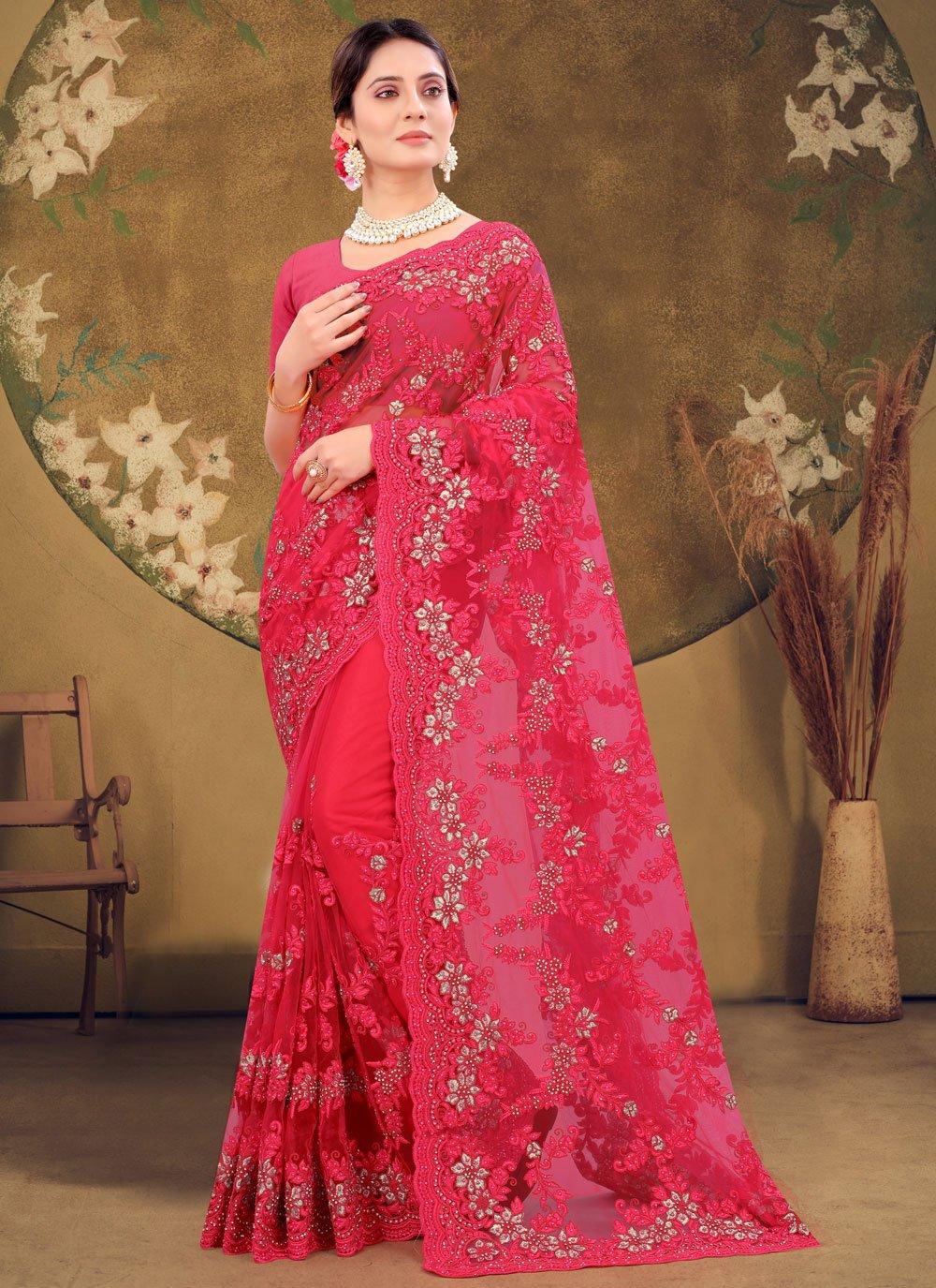 Net Designer Saree in Pink