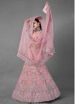 Net Dori Work Lehenga Choli in Pink