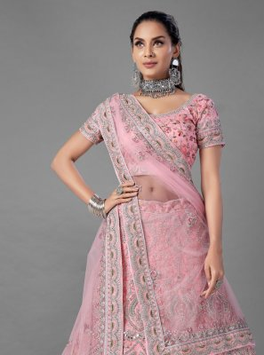 Net Dori Work Lehenga Choli in Pink
